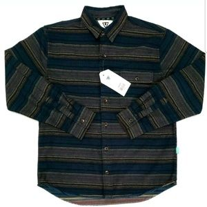 Vissla Boys Shirt Striped Button Down Long Sleeve